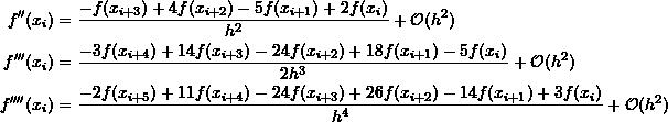 \[\begin{split} f''(x_{i})&=\frac{-f(x_{i+3})+4f(x_{i+2})-5f(x_{i+1})+2f(x_{i})}{h^2}+\mathcal O (h^2)\\ f'''(x_{i})&=\frac{-3f(x_{i+4})+14f(x_{i+3})-24f(x_{i+2})+18f(x_{i+1})-5f(x_{i})}{2h^3}+\mathcal O (h^2)\\ f''''(x_{i})&=\frac{-2f(x_{i+5})+11f(x_{i+4})-24f(x_{i+3})+26f(x_{i+2})-14f(x_{i+1})+3f(x_{i})}{h^4}+\mathcal O (h^2) \end{split} \]