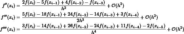 \[\begin{split} f''(x_{i})&=\frac{2f(x_{i})-5f(x_{i-1})+4f(x_{i-2})-f(x_{i-3})}{h^2}+\mathcal O (h^2)\\ f'''(x_{i})&=\frac{5f(x_{i})-18f(x_{i-1})+24f(x_{i-2})-14f(x_{i-3})+3f(x_{i-4})}{2h^3}+\mathcal O (h^2)\\ f''''(x_{i})&=\frac{3f(x_{i})-14f(x_{i-1})+26f(x_{i-2})-24f(x_{i-3})+11f(x_{i-4})-2f(x_{i-5})}{h^4}+\mathcal O (h^2) \end{split} \]