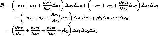 \[ \begin{split} F_1 &= \left(-\sigma_{11}+\sigma_{11}+\frac{\partial \sigma_{11}}{\partial x_1}\Delta x_1\right)\Delta x_2\Delta x_3+\left(-\sigma_{21}+\sigma_{21}+\frac{\partial \sigma_{21}}{\partial x_2}\Delta x_2\right)\Delta x_1\Delta x_3\\ &\qquad+\left(-\sigma_{31}+\sigma_{31}+\frac{\partial \sigma_{31}}{\partial x_3}\Delta x_3\right)\Delta x_1\Delta x_2 +\rho b_1 \Delta x_1\Delta x_2\Delta x_3\\ &=\left(\frac{\partial \sigma_{11}}{\partial x_1}+\frac{\partial \sigma_{21}}{\partial x_2}+\frac{\partial \sigma_{31}}{\partial x_3}+\rho b_1\right)\Delta x_1\Delta x_2\Delta x_3 \end{split} \]