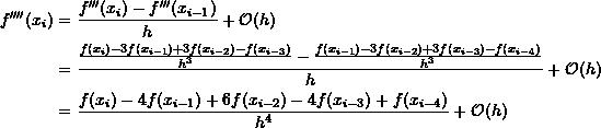 \[ \begin{split} f''''(x_i) & = \frac{f'''(x_{i})-f'''(x_{i-1})}{h}+\mathcal O (h)\\ &=\frac{\frac{f(x_{i})-3f(x_{i-1})+3f(x_{i-2})-f(x_{i-3})}{h^3}-\frac{f(x_{i-1})-3f(x_{i-2})+3f(x_{i-3})-f(x_{i-4})}{h^3}}{h} +\mathcal O (h)\\ &=\frac{f(x_{i})-4f(x_{i-1})+6f(x_{i-2})-4f(x_{i-3})+f(x_{i-4})}{h^4}+\mathcal O (h) \end{split} \]
