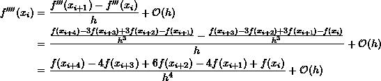 \[ \begin{split} f''''(x_i) & = \frac{f'''(x_{i+1})-f'''(x_i)}{h}+\mathcal O (h)\\ &=\frac{\frac{f(x_{i+4})-3f(x_{i+3})+3f(x_{i+2})-f(x_{i+1})}{h^3}-\frac{f(x_{i+3})-3f(x_{i+2})+3f(x_{i+1})-f(x_i)}{h^3}}{h} +\mathcal O (h)\\ &=\frac{f(x_{i+4})-4f(x_{i+3})+6f(x_{i+2})-4f(x_{i+1})+f(x_i)}{h^4}+\mathcal O (h) \end{split} \]